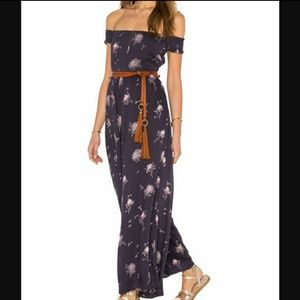 Free People Aster Floral Jumpsuit Navy Combo NWT